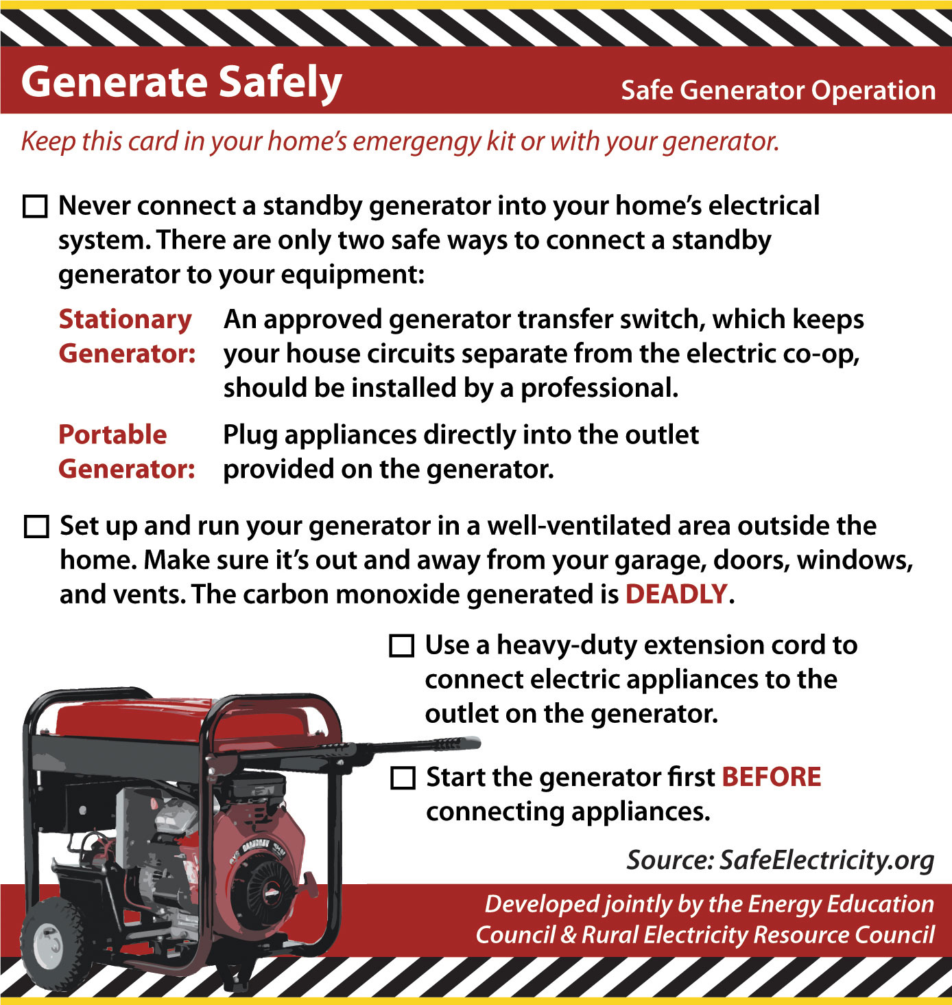 Safety Otero County Electric Cooperative Inc Ac Generator Schematic Diagram On Home Use Is Also A Major Cause Of Carbon Monoxide Co Poisoning Generators Should Only Be Used In Well Ventilated Areas